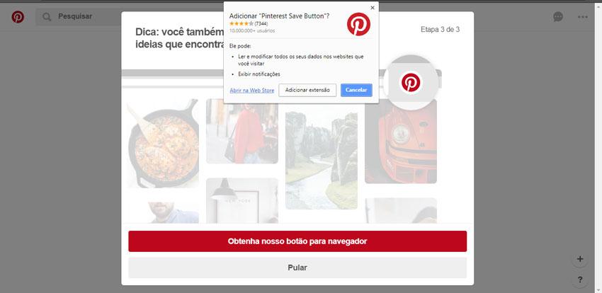 Adicionando Botão do Pinterest em seu Navegador