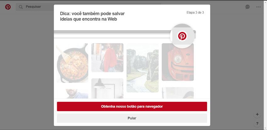 Instale o botão do pinterest em seu navegador